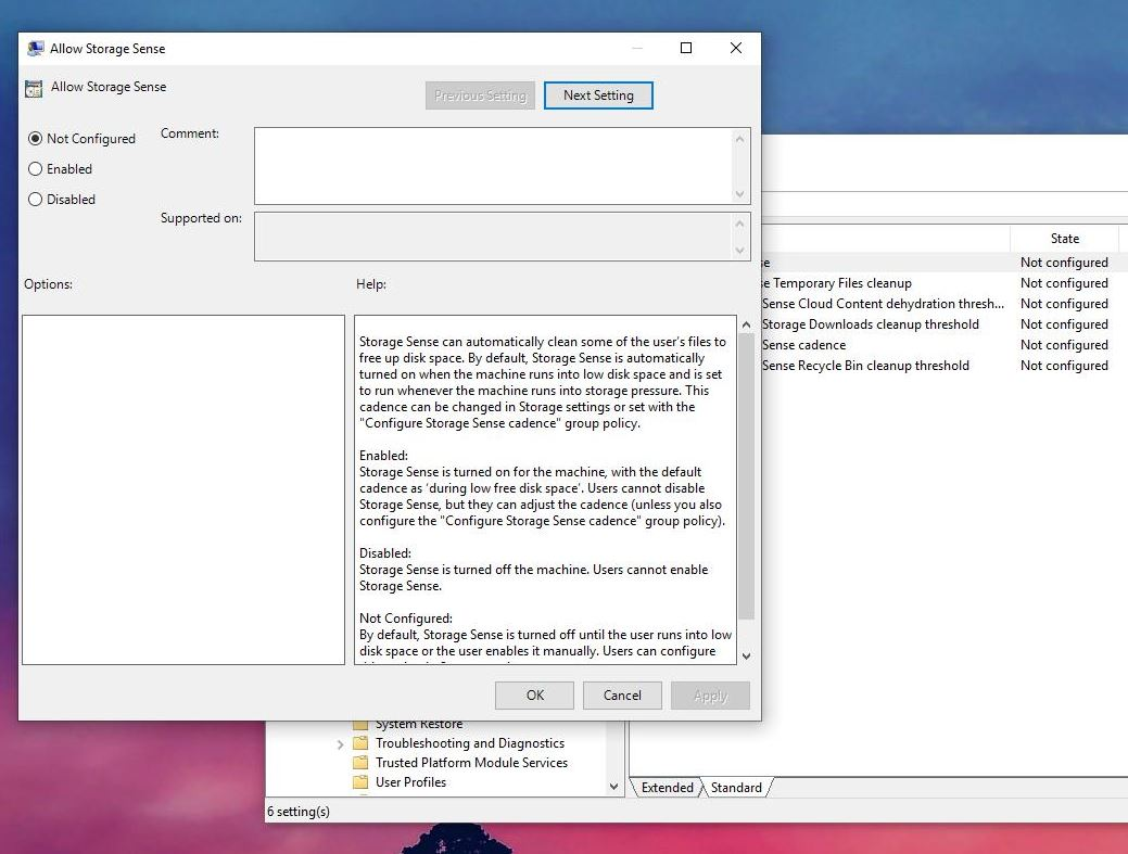 How To] Disable Storage Sense In Windows 10 Using Group Policy editor