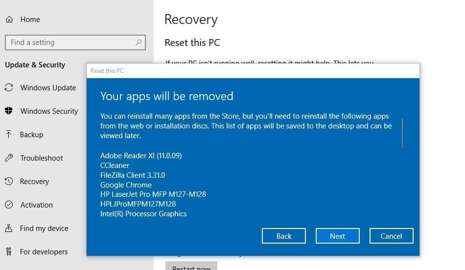 Your apps will be removed