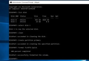 Format USB using cmd windows 10