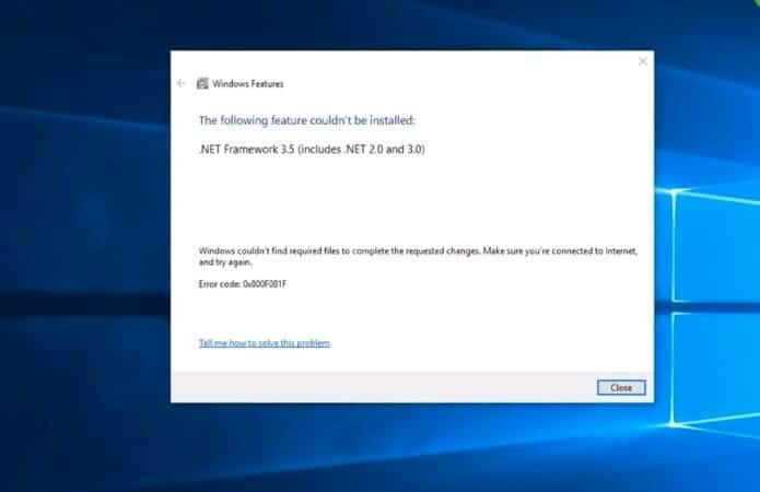 Fix windows 10 net framework 3 5 Installation Error