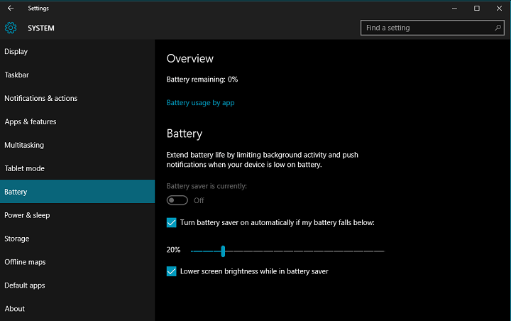 enable Battery Saver Mode Windows 10