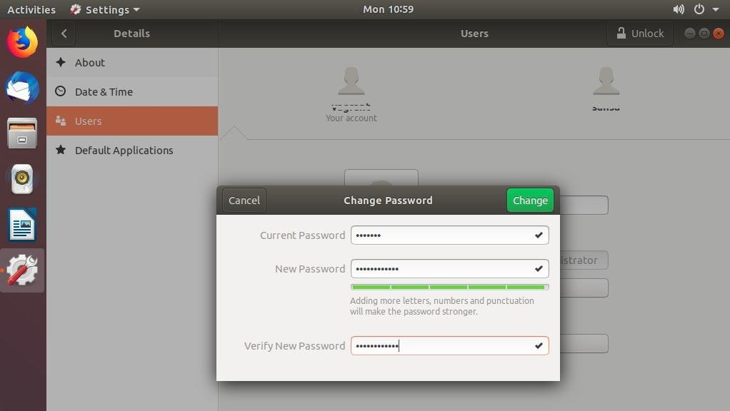 How to Change password in Ubuntu 18 4 using terminal and GUI