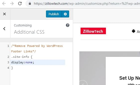 Custom CSS for removing footer credits