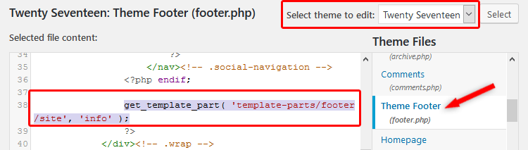 Modify Footer php