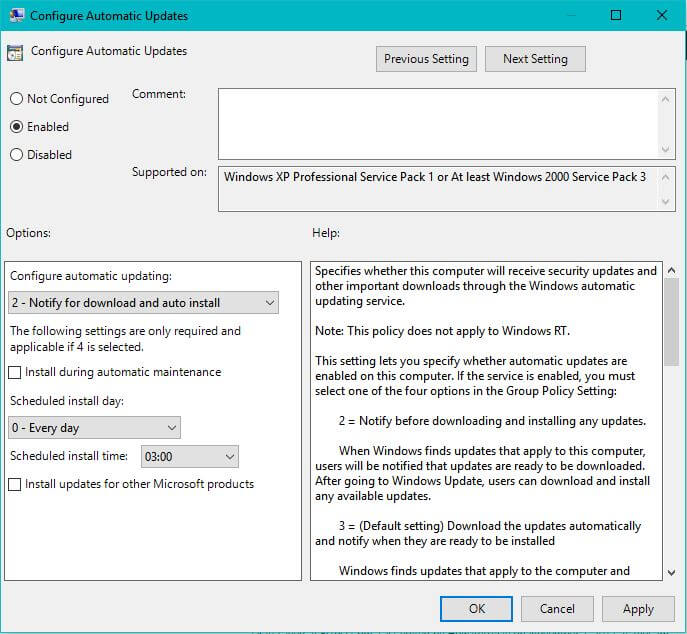 windows 10 stop updates group policy