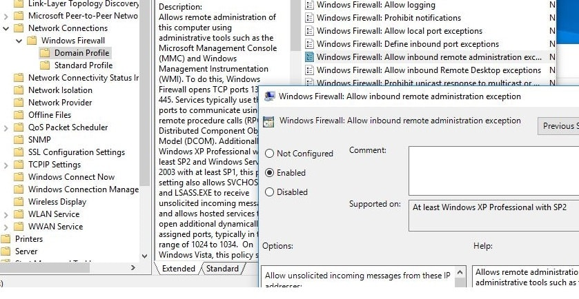 Allow RDP on group policy editor (firewall)