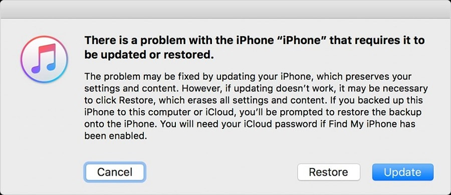 update iPhone form recovery mode