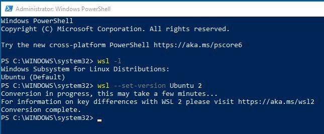 Install a distro for WSL2