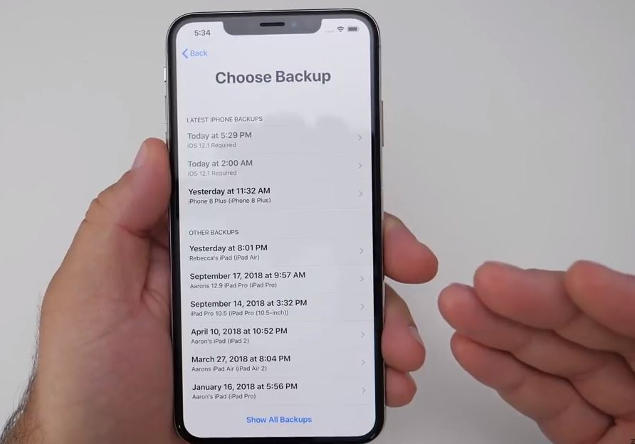 Select the backup of your old device
