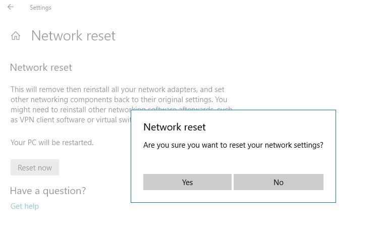 Confirm Reset Network Settings