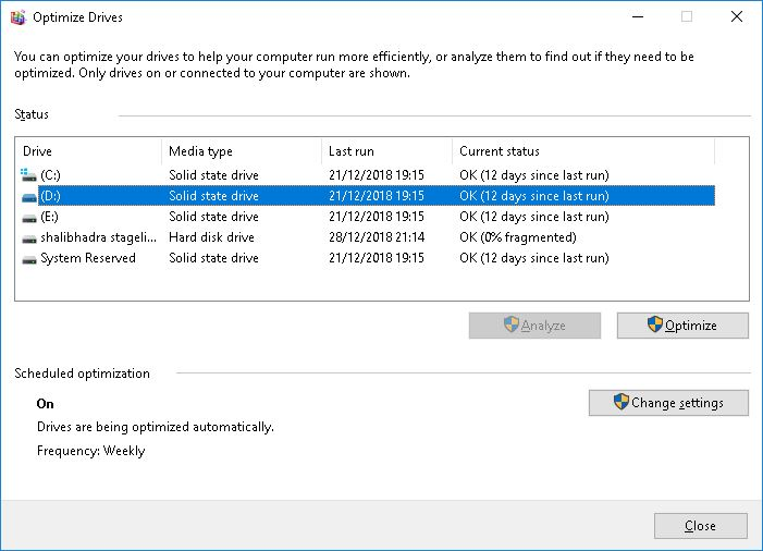 Find If Your Drive is SSD or HDD Using Disk Defragmenter