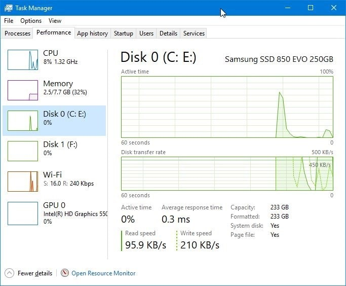check SSD installed from Taskmanager