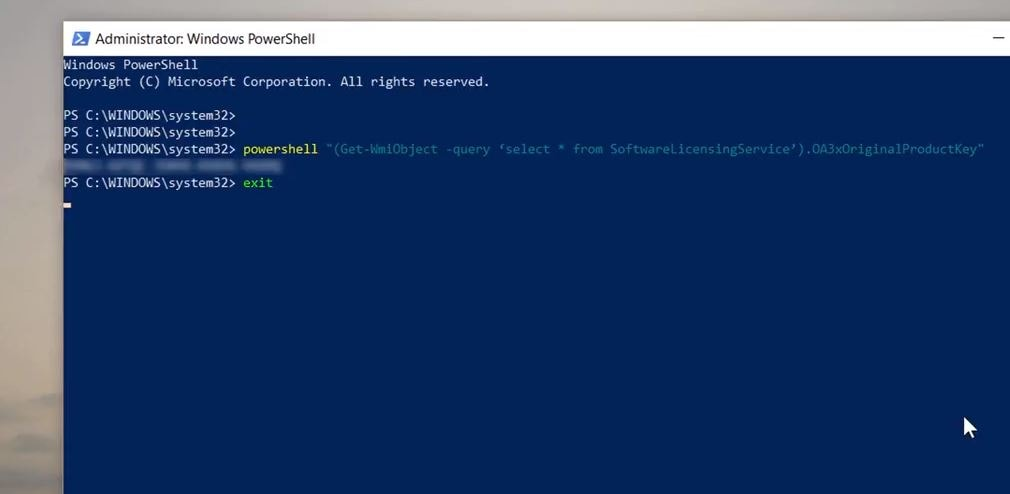 Find windows 10 product key using command prompt
