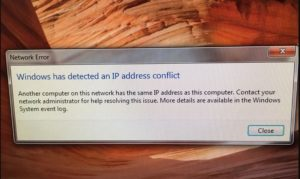 Windows IP address conflict