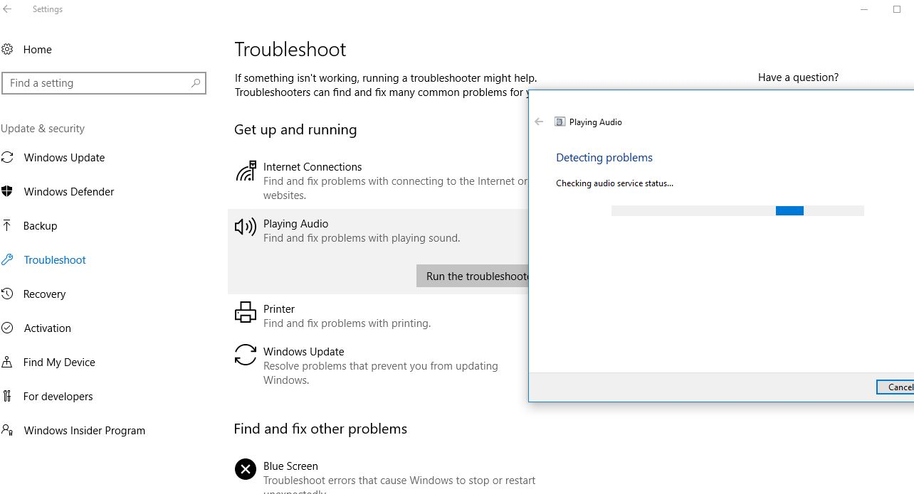 Windows 10 Playing Audio Troubleshooter