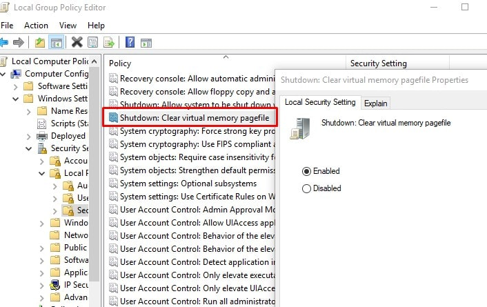 Clear the Pagefile in Windows Group Policy