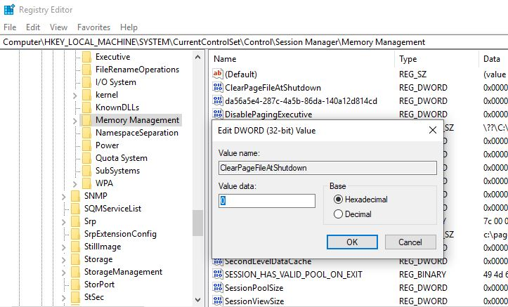 Clear the Pagefile in Windows Registry