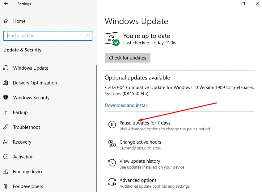 Pause Updates Windows 10