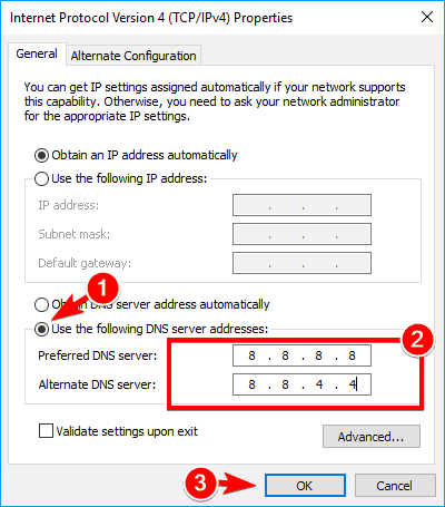 Change DNS Address manually