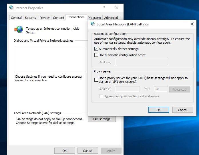 Windows 10 Proxy settings