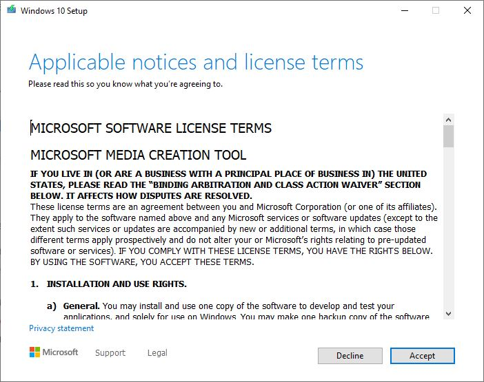 Media creation Tool licence terms