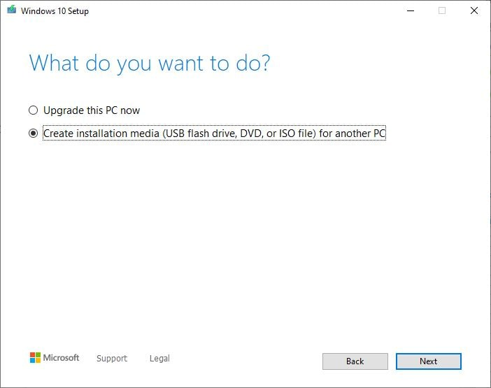 Media creation tool Download ISO