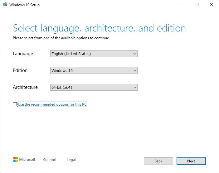 Select language architecture and edition