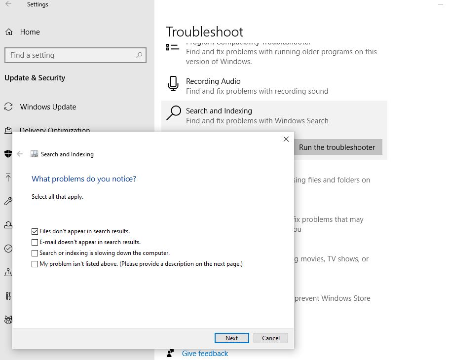 Windows search troubleshooter