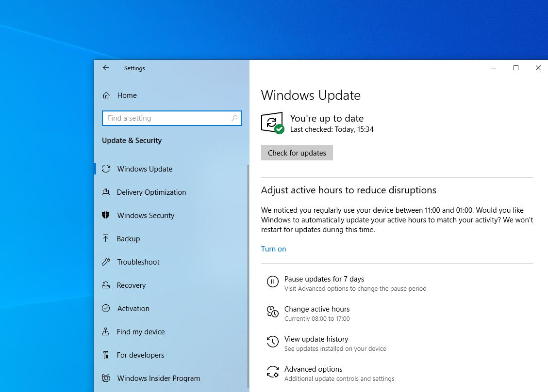 windows update for windows 10
