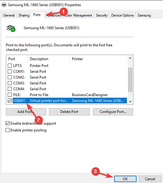 Configure printer port