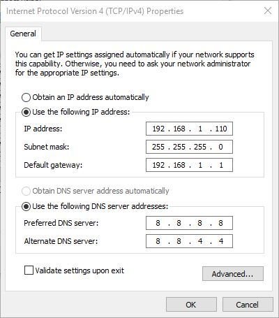 assign IP address manually