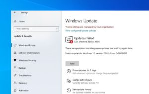 Windows version 21H1 failed to install